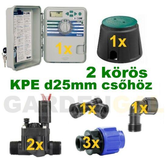 Kültéri vezérlő automatika szett 2 körös (KPE d25mm csőhöz)