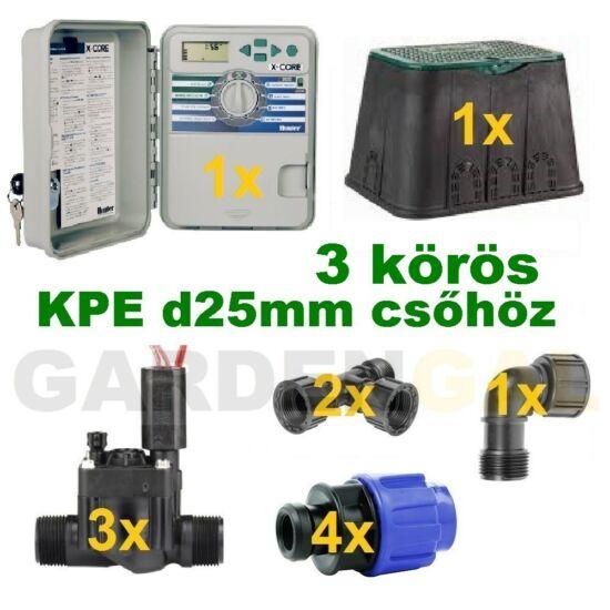 Kültéri vezérlő automatika szett 3 körös (KPE d25mm csőhöz)