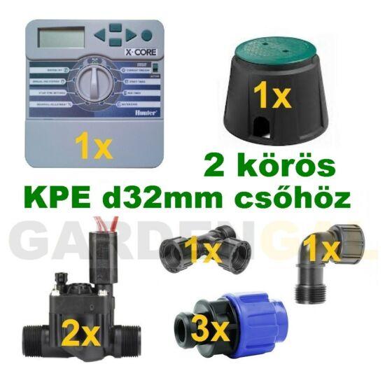 Beltéri vezérlő automatika szett 2 körös (KPE d32mm csőhöz)
