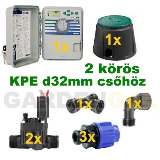 Kültéri vezérlő automatika szett 2 körös (KPE d32mm csőhöz)